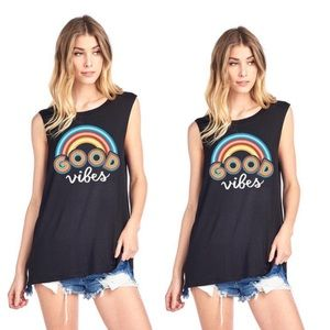 Tops - GOOD VIBES GRAPHIC MUSCLE TANK TOP
